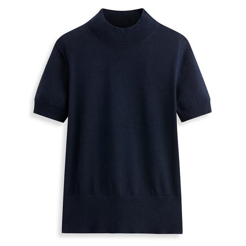 棉質半高領短袖針織衫-女