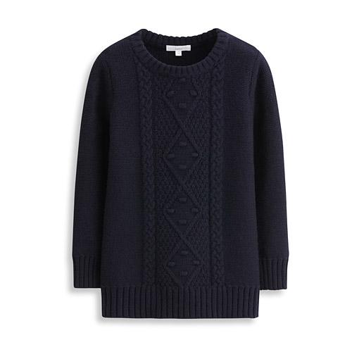 羊毛混紡麻花針織衫-童