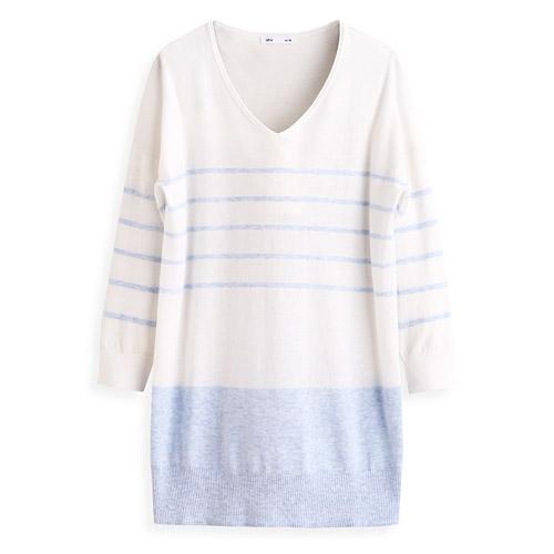 條紋配色針織衫-女