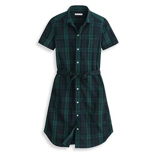 格紋綁帶短袖洋裝-女