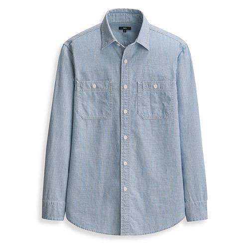牛仔條紋長袖襯衫-男