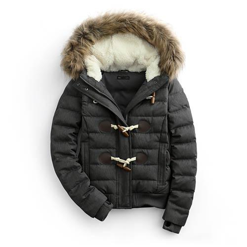 極暖牛角釦羽絨外套-女