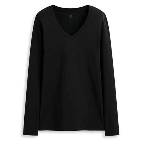 Pima 棉羅紋V領長袖T恤-女