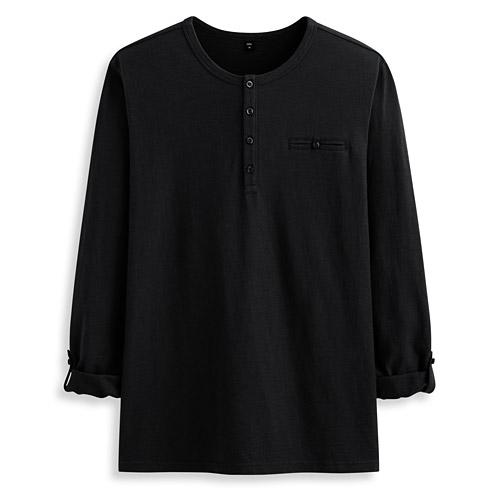 竹節棉開襟反折袖T恤-男