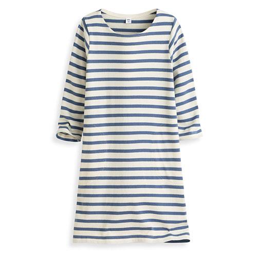 純棉條紋七分袖長版衫-童