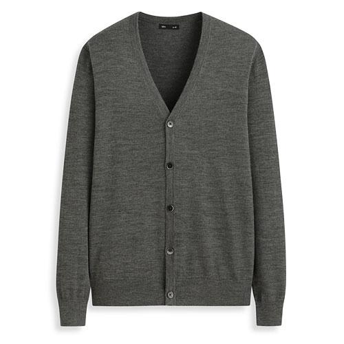 美麗諾羊毛V領開襟外套-男