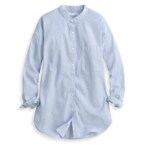 柔棉寬版立領長袖襯衫-女