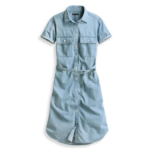 牛仔短袖洋裝-女