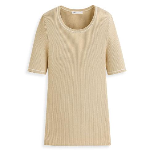 Pima棉羅紋短袖針織衫-女