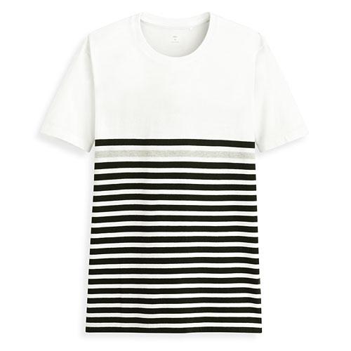 條紋配色短袖T恤-男