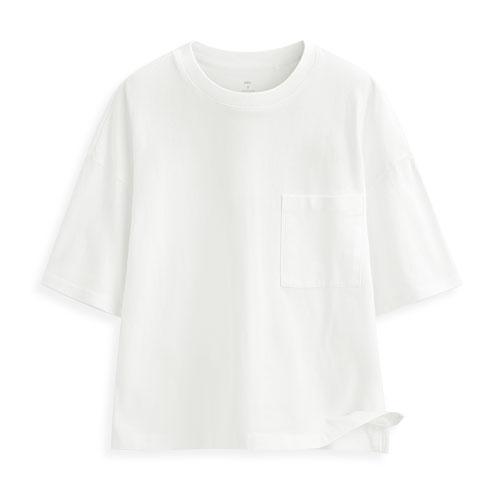 短版圓領口袋短袖T恤-女