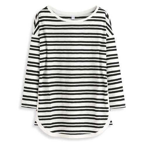 竹節棉條紋七分袖T恤-女