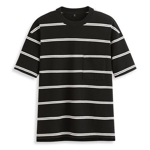 純棉寬版條紋T恤-男