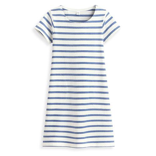 純棉條紋短袖洋裝-童