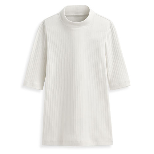 羅紋中高領五分袖T恤-女