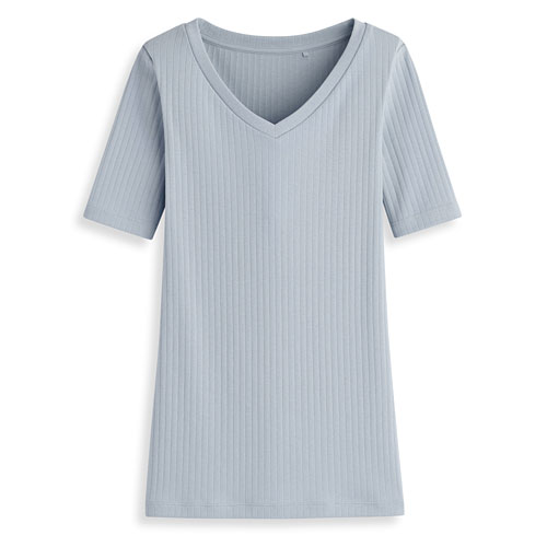 羅紋V領T恤-女