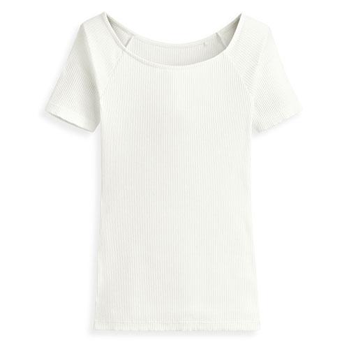 羅紋芭蕾領短袖T恤-女