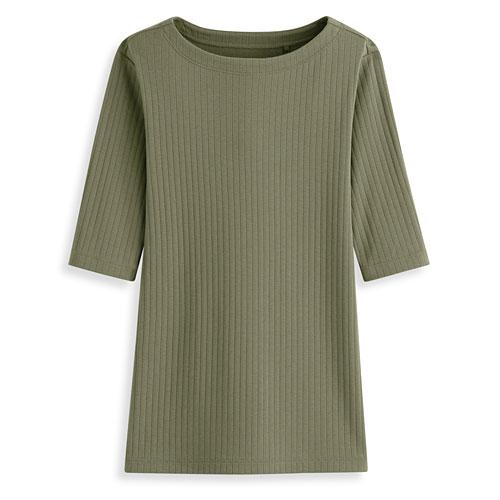 羅紋船型領五分袖T恤-女