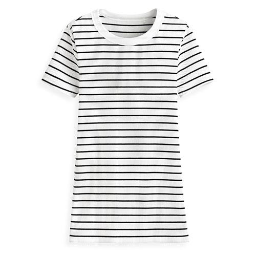 羅紋圓領條紋短袖T恤-女