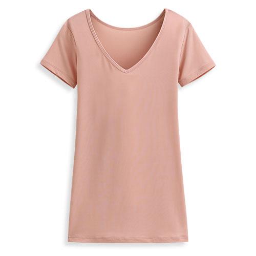 輕涼V領短袖T恤-女