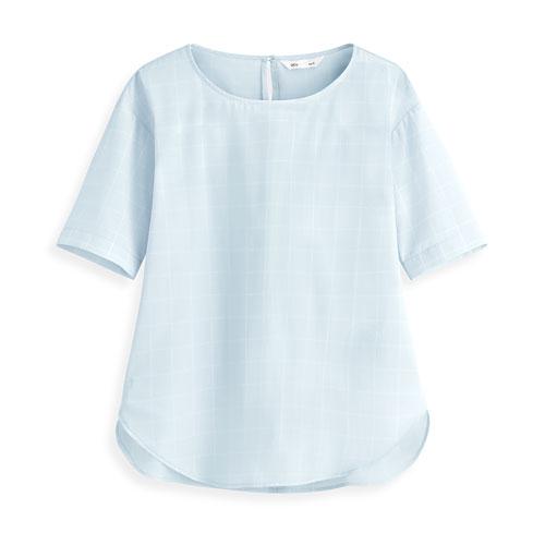 柔軟格紋短袖上衣-女