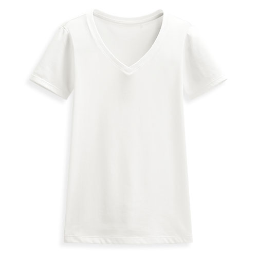 快乾棉V領短袖T恤-女