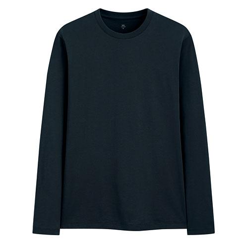 Pima 棉圓領長袖T恤-男