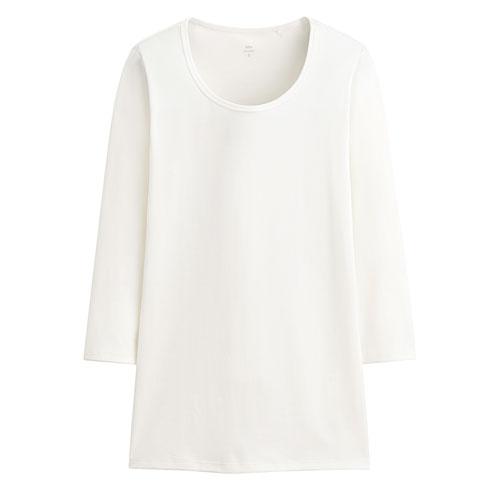 Pima 棉羅紋七分袖T恤-女