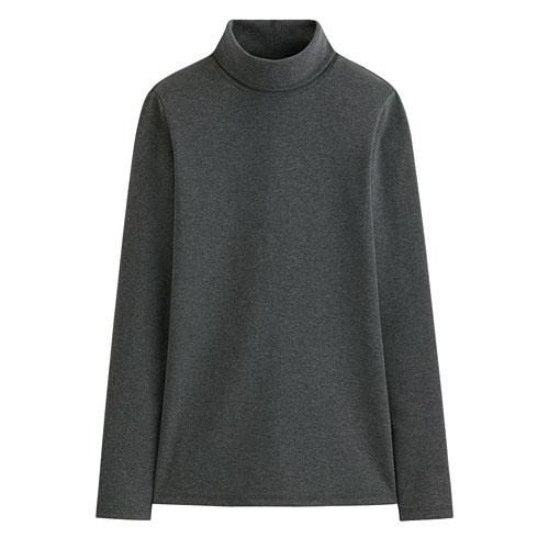 Pima 棉羅紋高領T恤-女