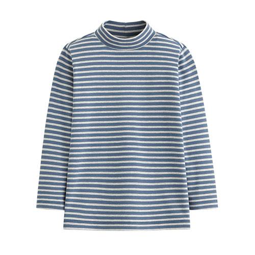 柔軟磨毛條紋中高領T恤-童