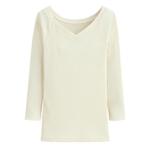 羅紋V領七分袖T恤-女