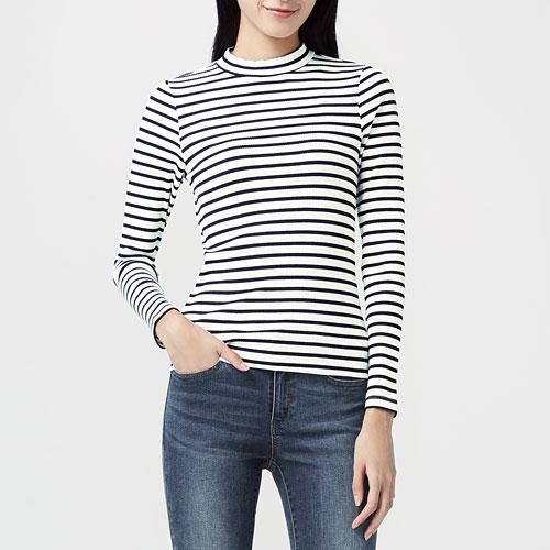羅紋條紋中高領T恤-女