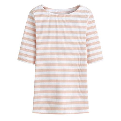羅紋船型領五分袖條紋T恤-女