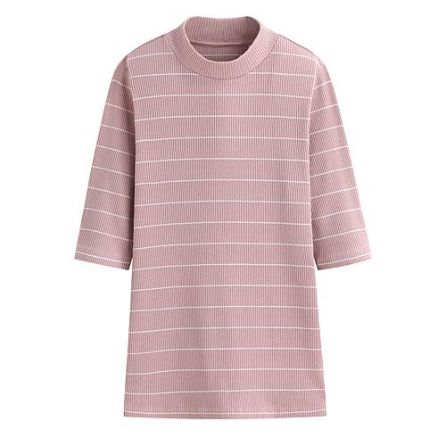 羅紋中高領五分袖條紋T恤-女