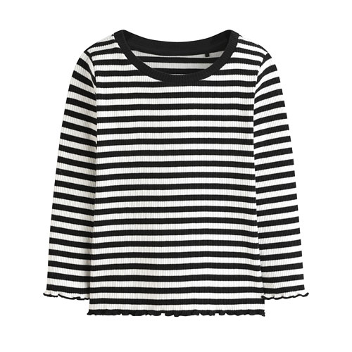 羅紋捲邊條紋T恤-童