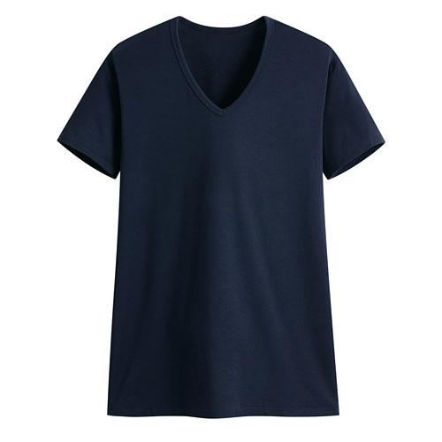 保暖V領短袖T恤-男
