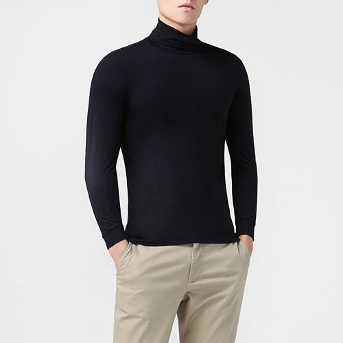 保暖高領九分袖T恤-男