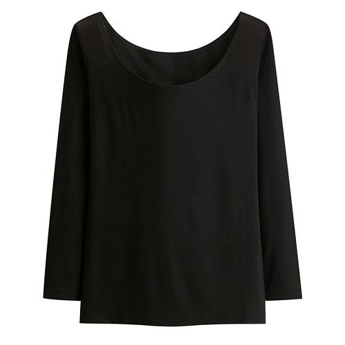 保暖芭蕾領八分袖T恤-女