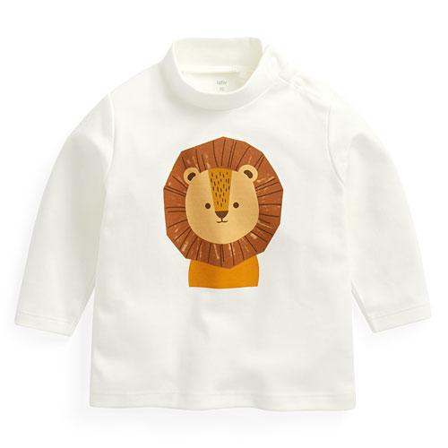 柔軟磨毛動物印花中高領T恤-Baby
