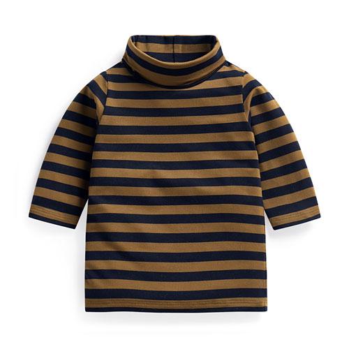 保暖條紋高領長袖T恤-Baby