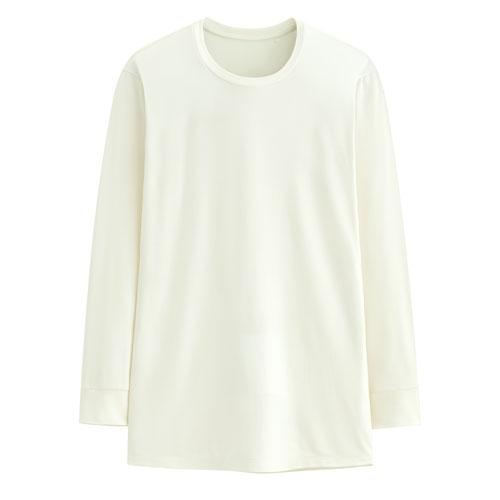 保暖刷毛圓領九分袖T恤-男