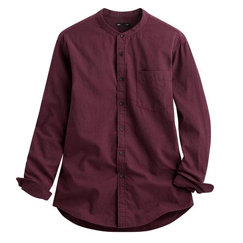 法蘭絨立領襯衫-男