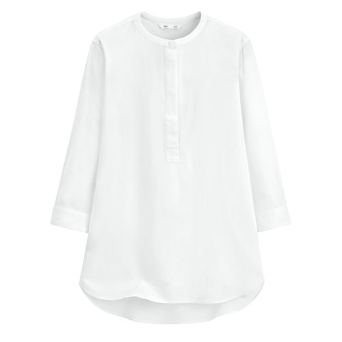 嫘縈立領七分袖襯衫-女
