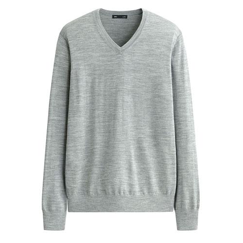 美麗諾羊毛V領毛衣-男