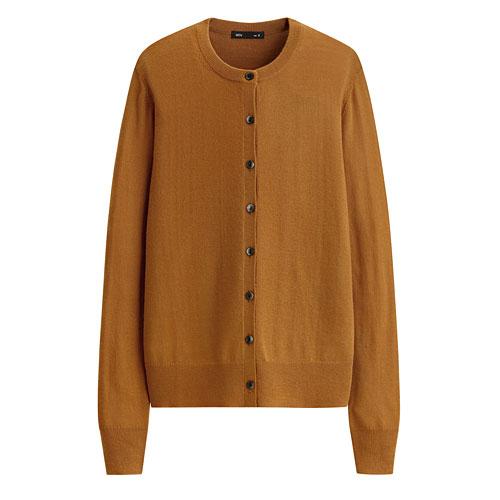 美麗諾羊毛圓領開襟外套-女