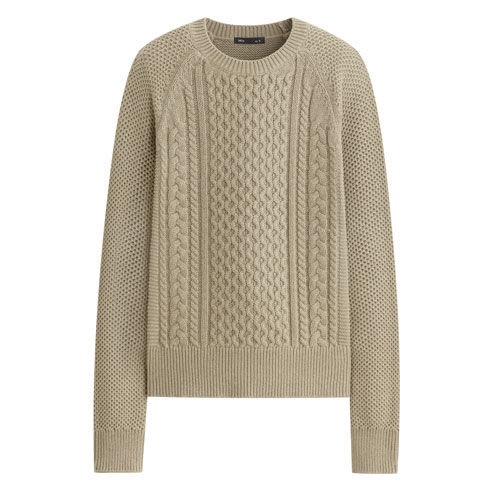 棉質編織圓領毛衣-女