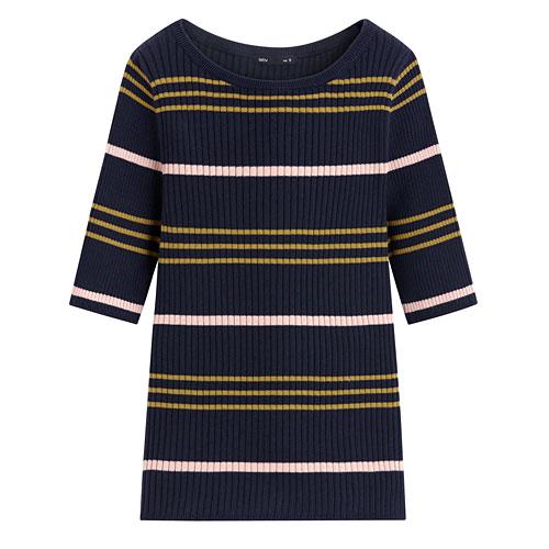 條紋短袖針織衫-女