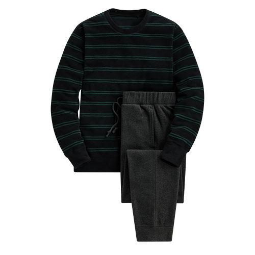 Fleece條紋家居套裝-男
