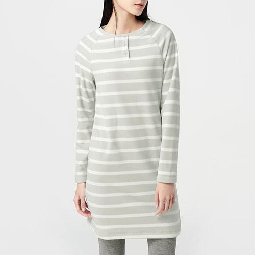 Fleece條紋洋裝-女