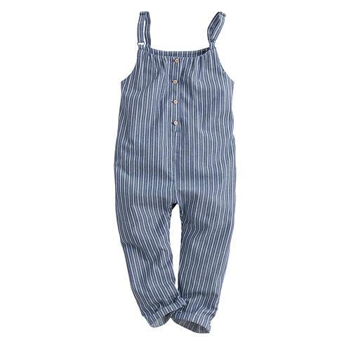 直條紋吊帶褲-童